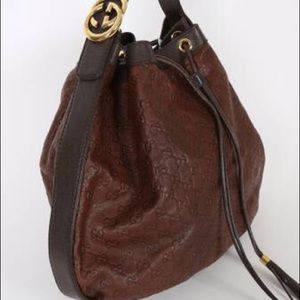 GUCCI Interlocking Guccissima LeatherChocolateHobo